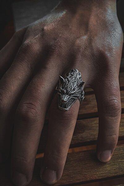aksesuargo Kurt Figürlü Ayarlanabilir Gümüş Kaplama Erkek Yüzük