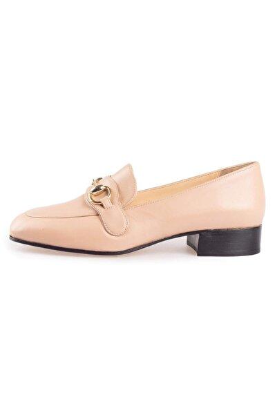 Flower Nude Deri Tokalı Günlük Kadın Ayakkabı