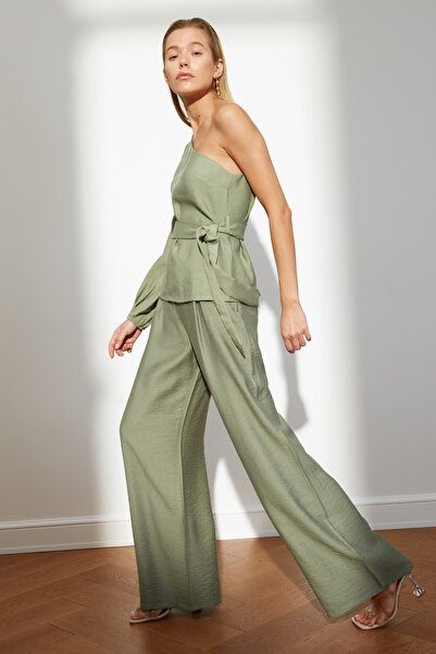 TRENDYOLMİLLA Yeşil Yüksek Bel Pantolon TWOSS21PL0605