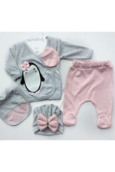 Bebek Gri Yeni Doğan Pamuklu Zıbın Set 5 Li