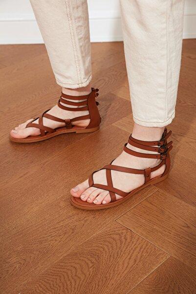 TRENDYOL SHOES Taba Kadın Sandalet TAKSS21SD0008