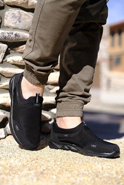Oksit Erkek Siyah Yrc Süet Detaylı Fileli Kalın Taban Sneaker