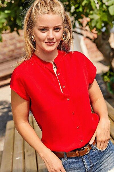 Happiness İst. Kadın Kırmızı Hakim Yaka Viskon Gömlek DD00859