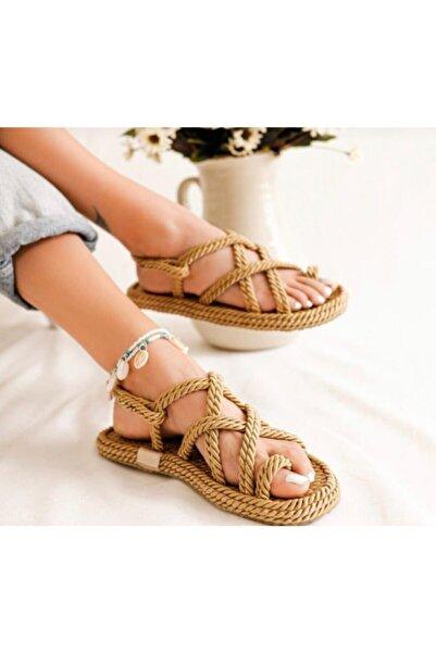 AYKMAR Kadın Altın Hasır Sandalet