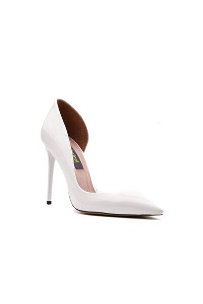 derinet Klasik Beyaz Rugan Dekolteli Kadın Stiletto