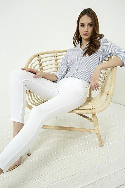 Vis a Vis Kadın Beyaz Dar Paça Yüksek Bel Pantolon