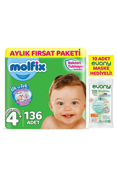 Molfix 3d Bebek Bezi Beden 4+ Maxiplus Aylık Fırsat Paketi 136 Adet + Evony Maske 10'lu Hediyeli