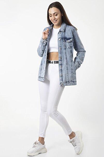 MD trend Kadın Mavi Cepli Basic Kot Ceket
