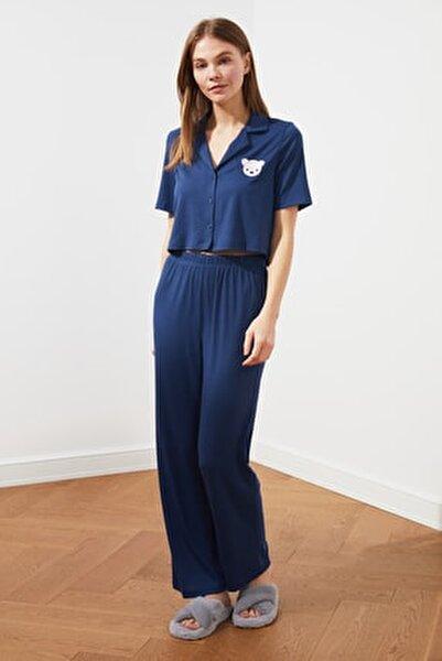 Mavi Kaşkorse Örme Pijama Takımı THMSS21PT0168