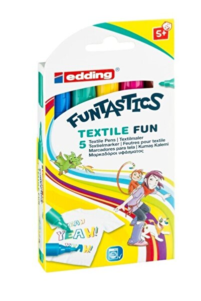 Edding Ed17 Funtastics Textile Fun Çocuklar Için Kumaş Boyama Kalemi 2-3mm 5 Renk Set