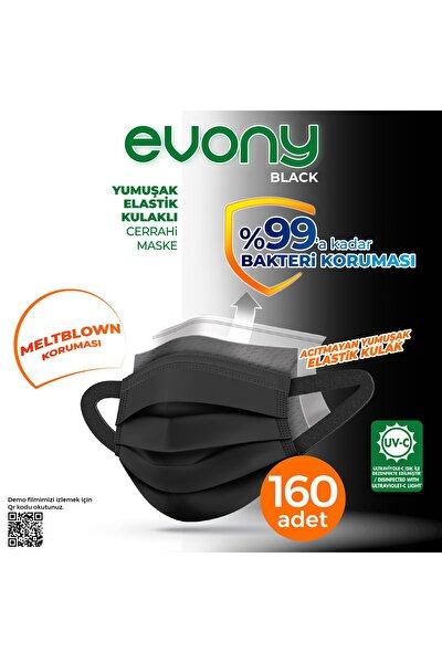 Evony Siyah Elastik Kulaklı Maske 160 Adet