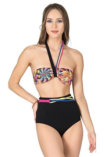 Endeep Kadın Desenli Yüksek Bel Straplez Bikini Takımı