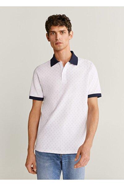 MANGO Man Erkek Beyaz Desenli Polo Yaka Tişört