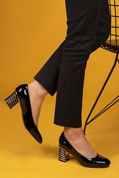 ays ayakkabı Kadın Siyah Rugan Topuklu Ayakkabı