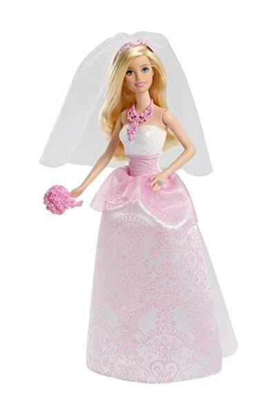 Barbie Gelin Bebek , Beyaz ve Pembe Elbise içinde Gelin Buketi ve Duvak ile CFF37-CFF37