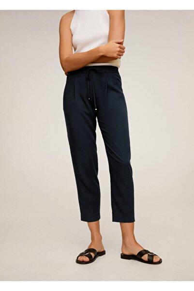 MANGO Woman Kad��n Lacivert Bağcıklı Takım Pantolon 67056705