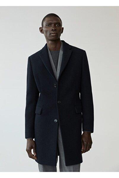 MANGO Man Erkek Lacivert Yün Tailored Palto