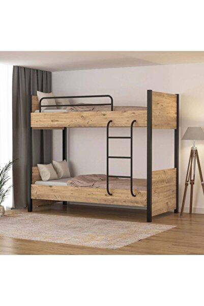 tino furniture Çift Katlı Metal Ayaklı Berlin Ranza Genç Odası Çocuk Odası 90x190