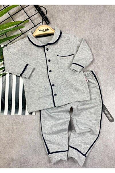 catciybu Gri Bebek %100 Pamuk Yakalı Düğmeli Pijama Takım