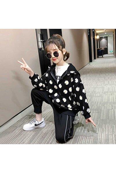 Little Honey Bunnies Papatya Detaylı Siyah Ceket Ve Pantolon 2'li Set