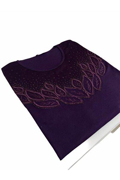 Elele Dantelli Taşlı Çiçek Desenli Mor Anne Penye Bluz