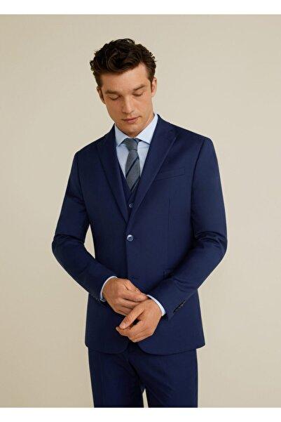 MANGO Man Erkek Lacivert Dar Kesimli Takım Blazer Ceket 67110506