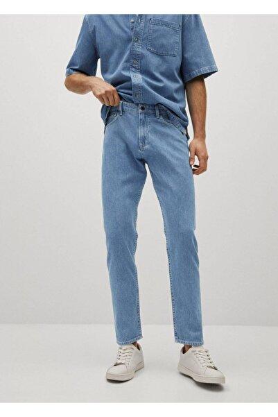 MANGO Man Erkek Mavi Düz Kesim Orta-açık Yıkama Jean Pantolon