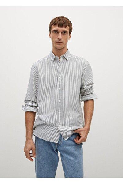 MANGO Man Regular Kesim Çizgili Pamuklu Gömlek