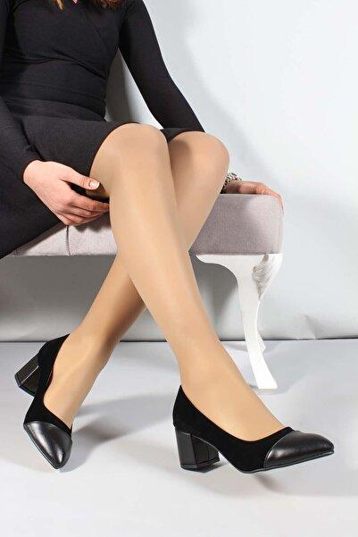 FAST STEP Kadın Siyah Süet  Kısa Topuklu Ayakkabı 961za553