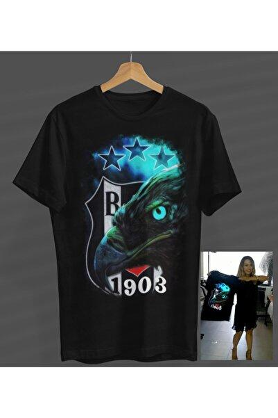 NVM Tekstil Unisex Kadın-erkek Kartal Tasarım Siyah Yuvarlak Yaka T-shirt