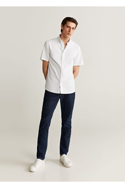 MANGO Man Erkek Beyaz Regular Kesim Pamuklu Gömlek 67047657