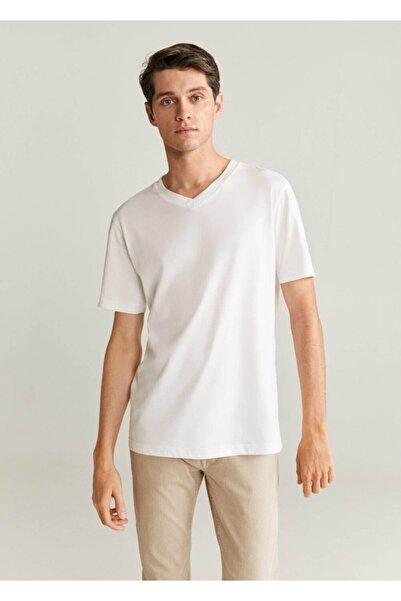 MANGO Man Erkek Beyaz %100 Organik Pamuklu Tişört 77030555