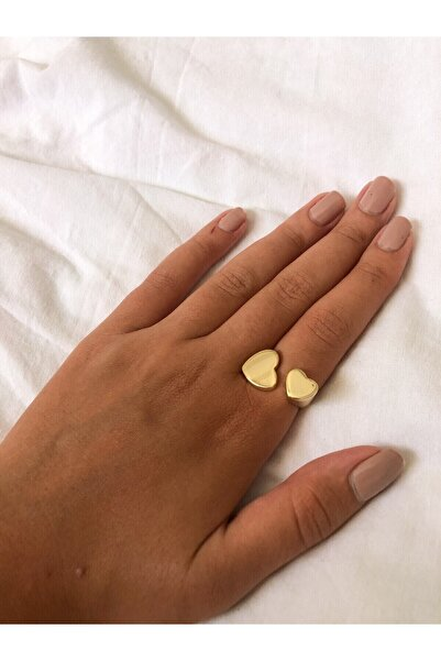 The Y Jewelry Ayarlanabilir Gold Renk İkili Kalp Yüzük