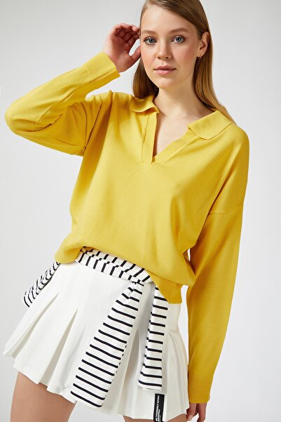 Happiness İst. Kadın Sarı Polo Yaka Dökümlü İnce Triko Kazak  DM00033