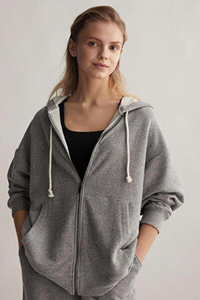 Oysho Kadın AÇık Gri Pamuklu Oversize Ceket