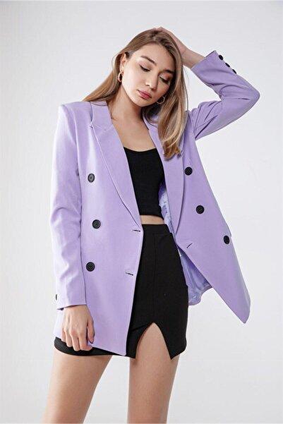 ELFİN Giyim Kadın Mor  Düğmeli Blazer Ceket