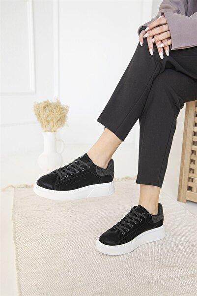 STRASWANS Kadın Siyah Huws Nubuk Spor Ayakkabı