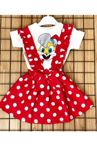 Miracle Kız Çocuk Kırmızı Askılı Puantiyeli Elbise Ve Tişört Elbise Tişört 2 Li Takım