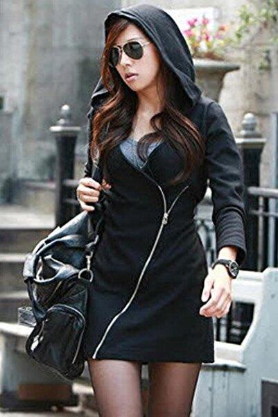 Alışveriş Sokağı Kadın Çapraz Fermuarlı Kapüşonlu Siyah Tunik