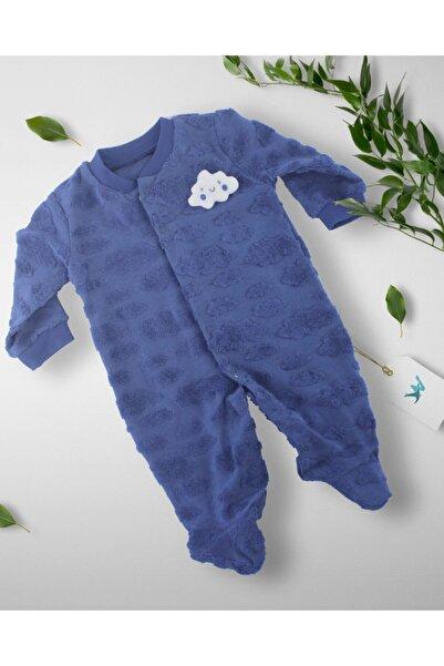 woolbaby Erkek Bebek Mavi  Bulut Desenli Patikli Tulum