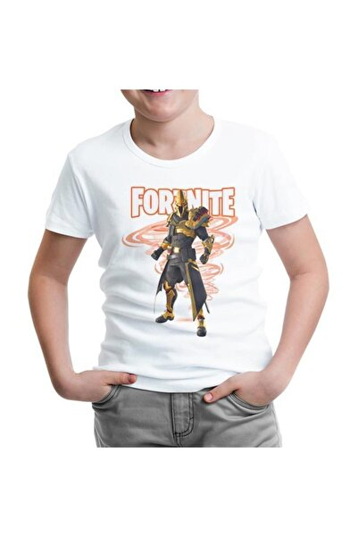 Lord T-Shirt Unisex Çocuk Beyaz Fortnite Ultima Knight Tshirt