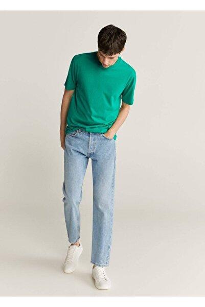 MANGO Man Erkek Yeşil Organik Pamuklu Tişört 77030554