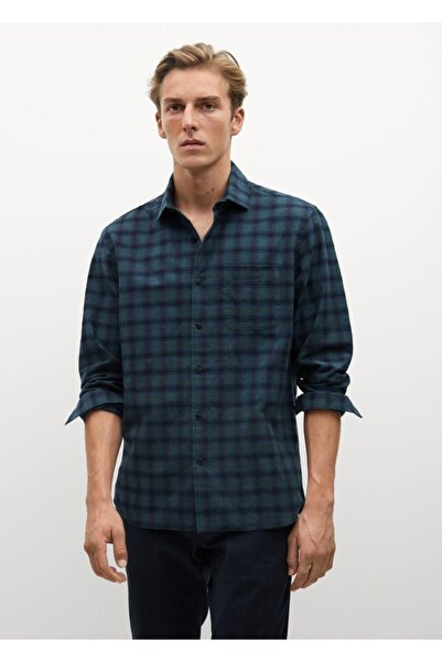 MANGO Man Erkek Yeşil Regular Kesim Kareli Oduncu Gömlek