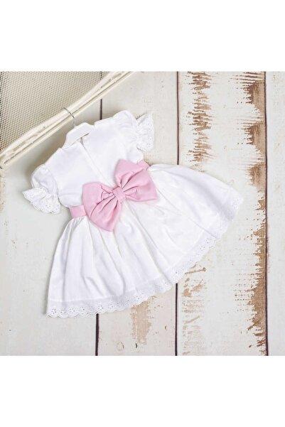 Le Mabelle Kız Çocuk Beyaz Vintage Fiyonklu Elbise