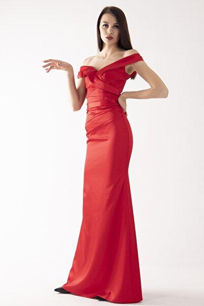 belamore Kadın Kırmızı Kayık Yaka Saten Abiye & Mezuniyet Elbisesi 1607216