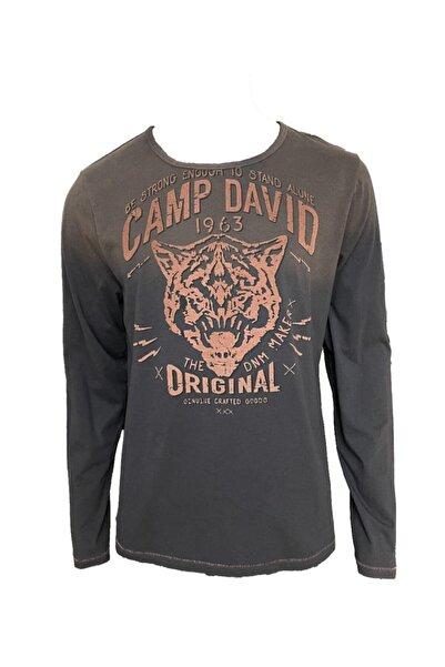 Camp David Erkek Vintage Uzun Kol Kabartmalı Baskılı T-shirt