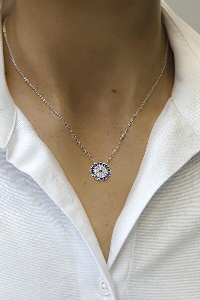 Marjin Kadın Zirkon Taşlı Mavi Nazarlık Figürlü Gümüş Renkli Kolyegümüş