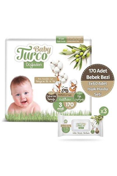 Baby Turco Doğadan 3 Numara Midi 170 Adet + 3x60 Doğadan Islak Havlu Seti