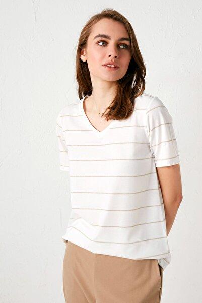 LC Waikiki Kadın Altın Çizgili Tişört