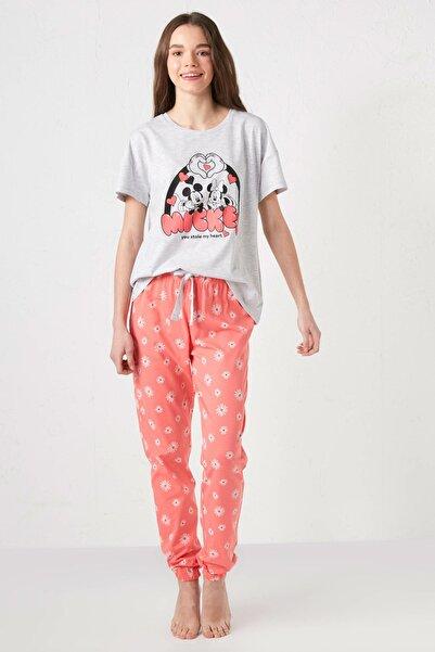 LC Waikiki Kadın Mercan Baskılı Pijama Takım